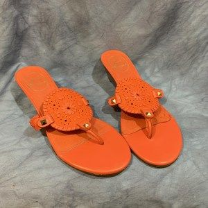 Jack Rogers Coral Wedge Thong Sandals Size 8